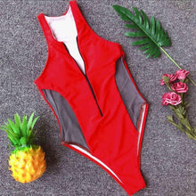 Load image into Gallery viewer, 3 Colours Deep V Neck Zipper Mesh High Cut One Piece Swimsuit - V1006