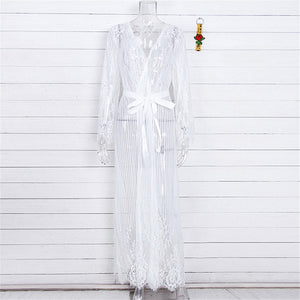 White Crochet Lace Tunic Beach Cover Up - V1318