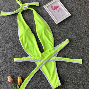 8 Colours High Cut Backless One Piece Swimsuit -i V1336G
