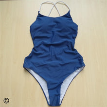 Load image into Gallery viewer, 7 Colours Braided Strap Cross Back One Piece Swimsuit - V127G
