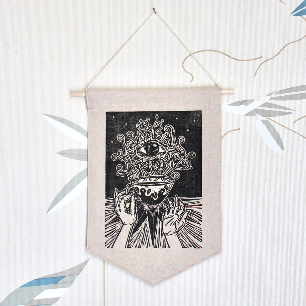 wall hanging with a mystical cup hand printed block