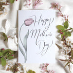 Load image into Gallery viewer, tulip happy mother's day card design with a spring theme