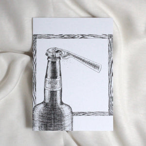Beer Bottle and Cap Card