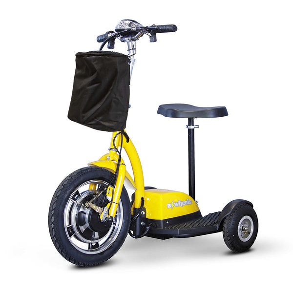eWheels EW-18 12v 400w Sit or Stand 3-Wheel-Mobility Scooter-eWheels-Yellow-My Own Wheels