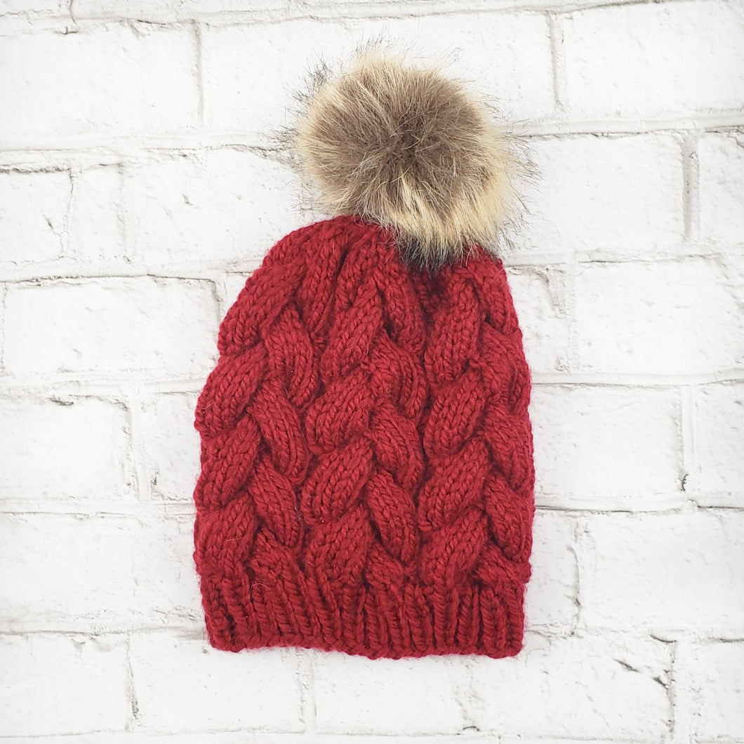 Braided Cable Beanie - Deep Red