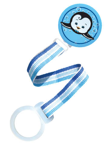 Personalized Pacifier Holder Blue Penguin