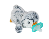 RaZbuddy Paci Holder - JollyPop Pacifier - Grey Penguin