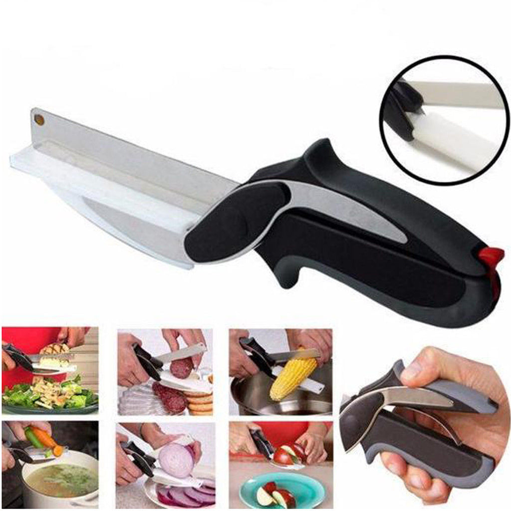 Stainless Steel Kitchen Scissors 2 in 1 Cutting Board Chopper Clever Fruit Vegetable Multifunctional Cutter - Carol Trends