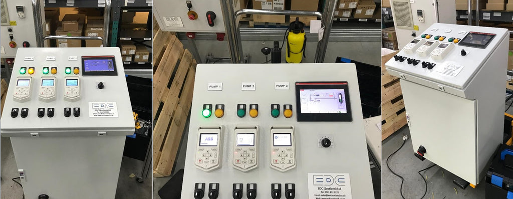 edc hands on HMI ABB training panel with ABB ACQ580 inverters for multipump training