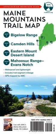 Maine Mountain Trail Map 3 - 6: Bigelow Range, Camden Hills, Eastern Mount Desert Island, Mahoosuc Range, and Evans Notch