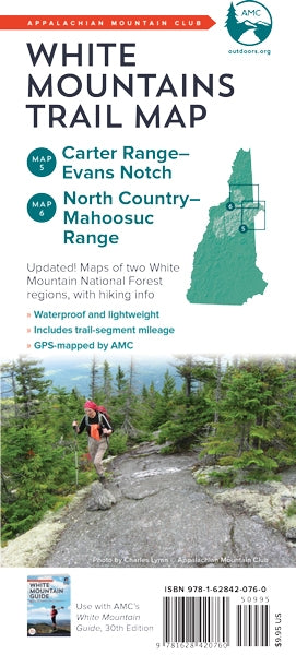 White Mountains Trail Map - Carter Range to Evans Notch & North Country - Mahoosuc Range