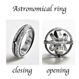 Decoration Piece! Silver unisex Astronomical Ring.Metal ball Creative Complex Rotating.