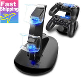 Controller Charger Dock LED Dual USB PS4 Charging Stand Station Cradle
