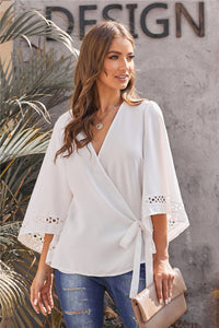 Women's White Wrap Top