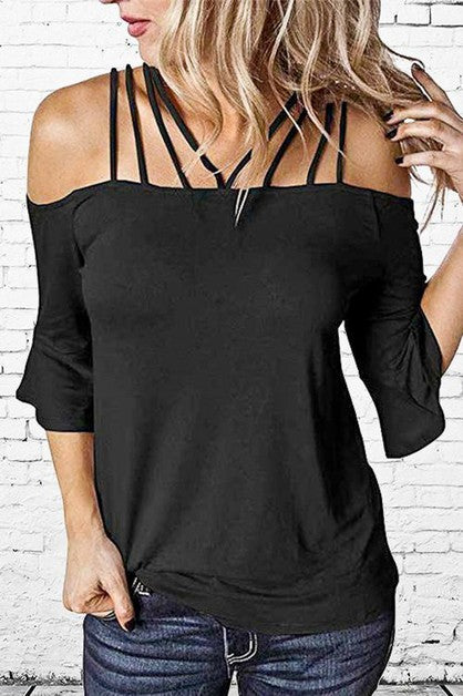 Black Top with Strap Neck