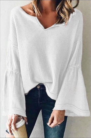 Women's White Flared Sleeve Top