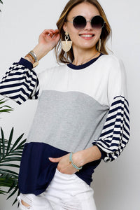 Navy/White Bell Sleeve top