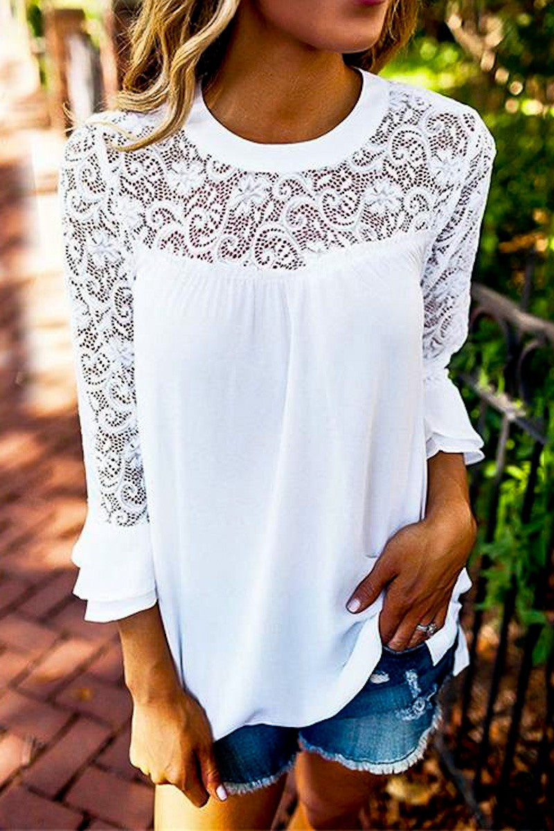 White Lace Top & Sleeve