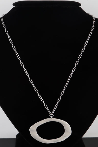 Silver Circle Necklace with open chain