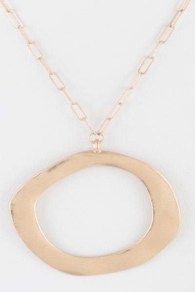 Gold Circle Necklace with chain