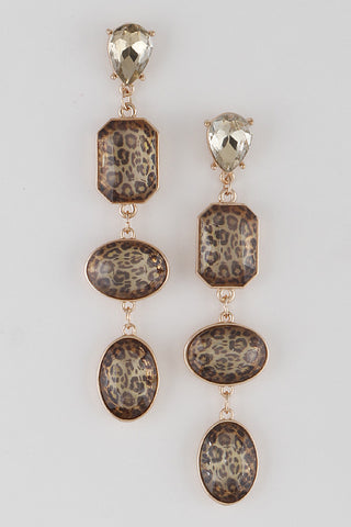 Gold/Leopard Earrings