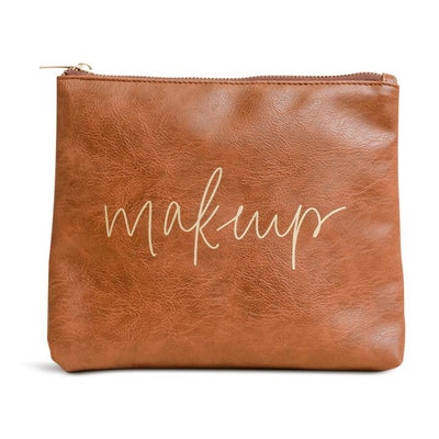 camel leather makeup bag