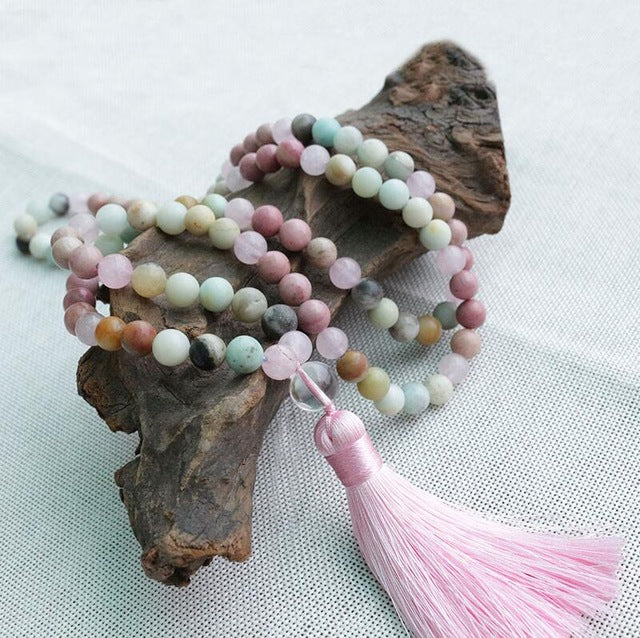 Serene 静 Rhodrochrosite Amazonite Mala Necklace
