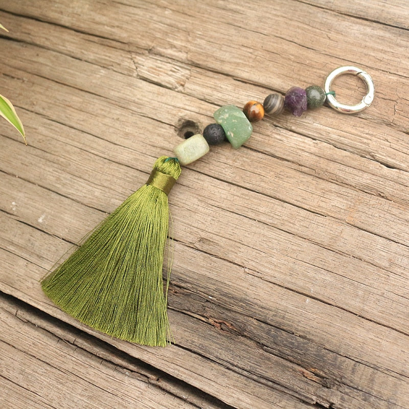 Compassionate 慈 Moss Agate  Key Chain