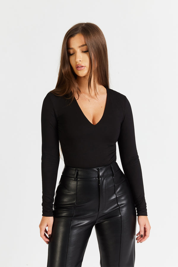Long Sleeve V Neck Bodysuit - Black