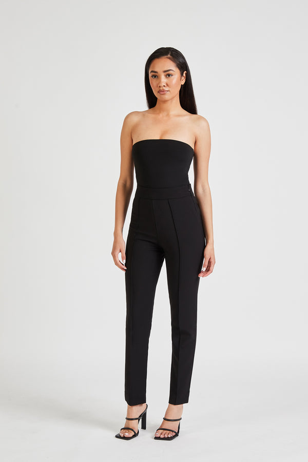 High Waisted Cigarette Trousers - Black