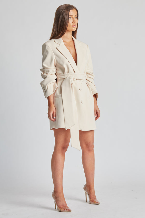 Blazer Dress With Belt - Cream