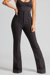 Wide Leg Suit Trousers - Black