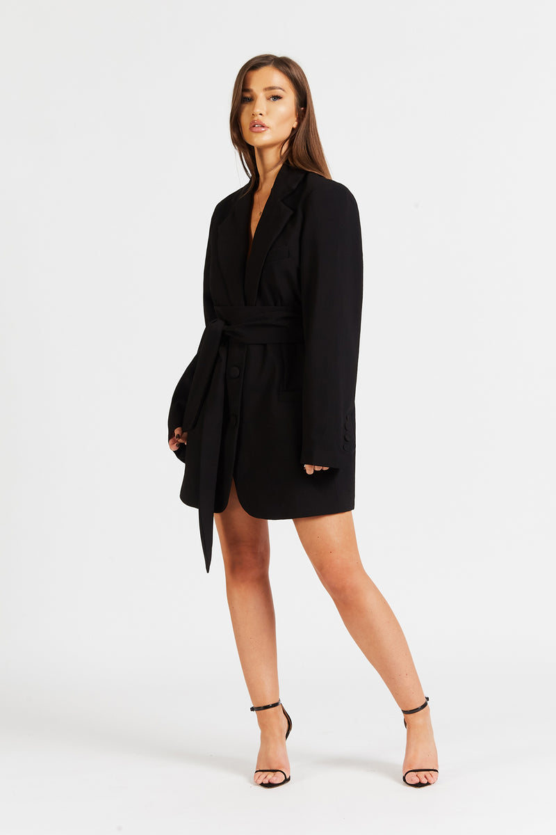 Blazer Dress With Belt - Black