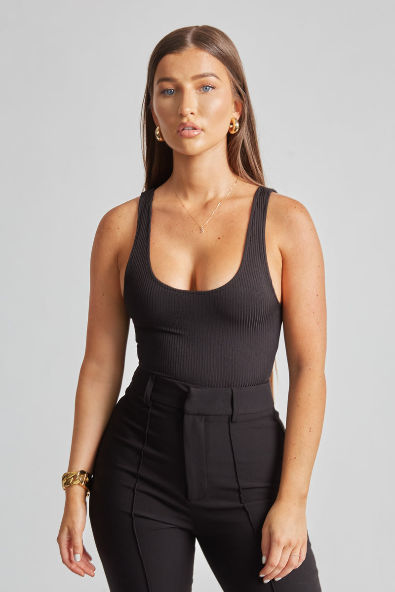 Ribbed Bodysuit - Black