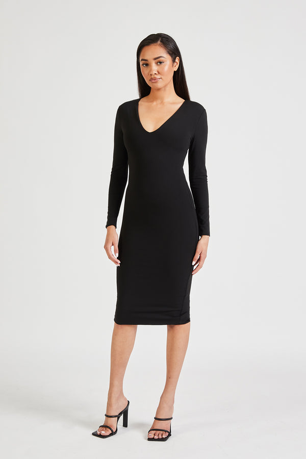 Long Sleeve V Neck Midi Dress - Black