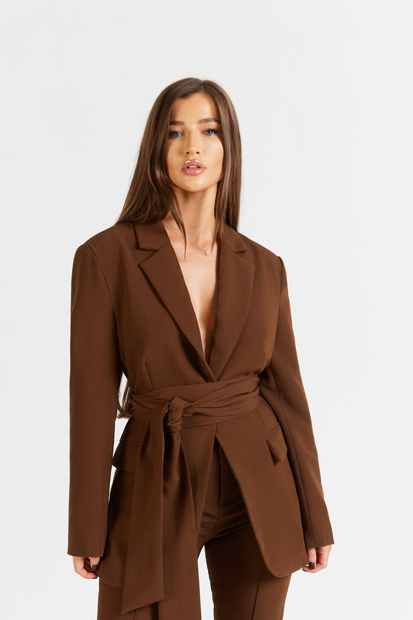 Classic Blazer With Belt - Chocolate