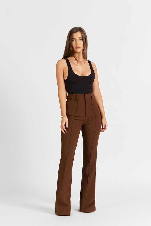 Wide Leg Suit Trousers - Chocolate