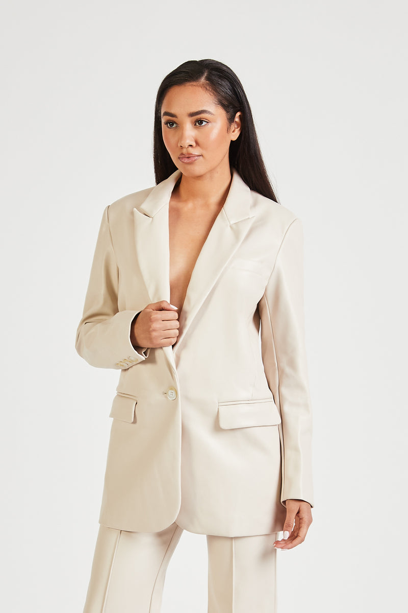 Leather Boyfriend Blazer - Cream