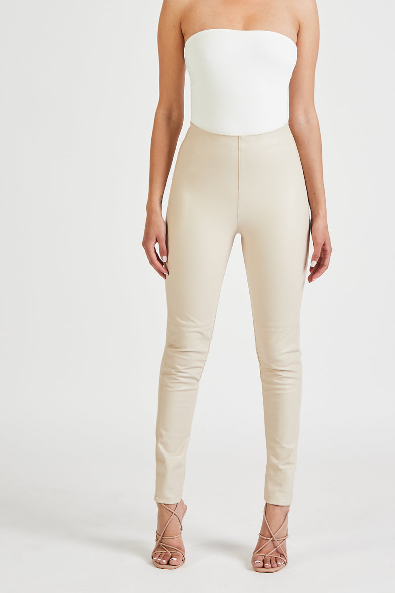 High Waisted Leather Leggings - Cream