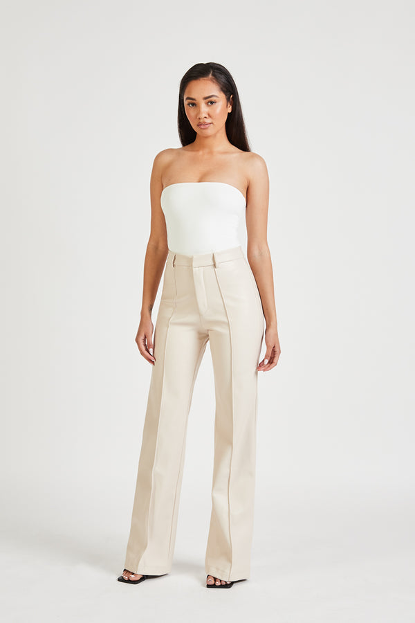 Leather Wide Leg Trousers - Cream
