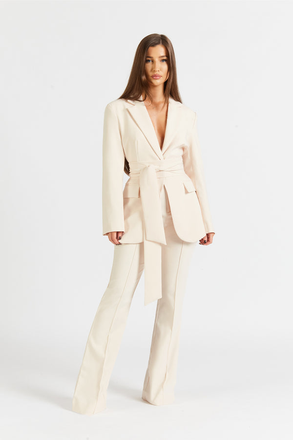 Classic Blazer With Belt - Cream