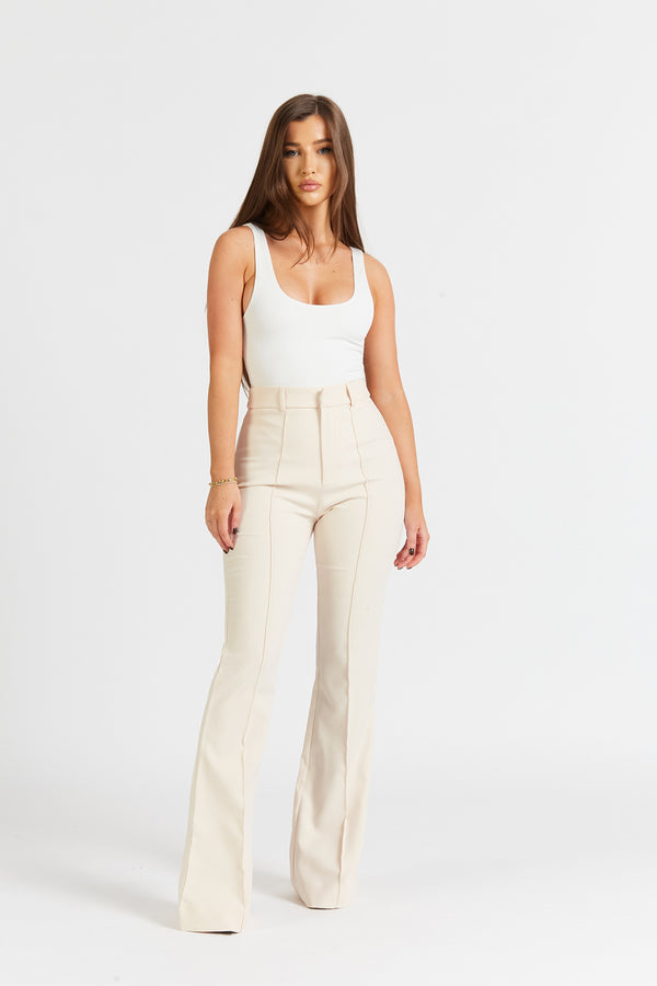 Wide Leg Suit Trousers - Cream