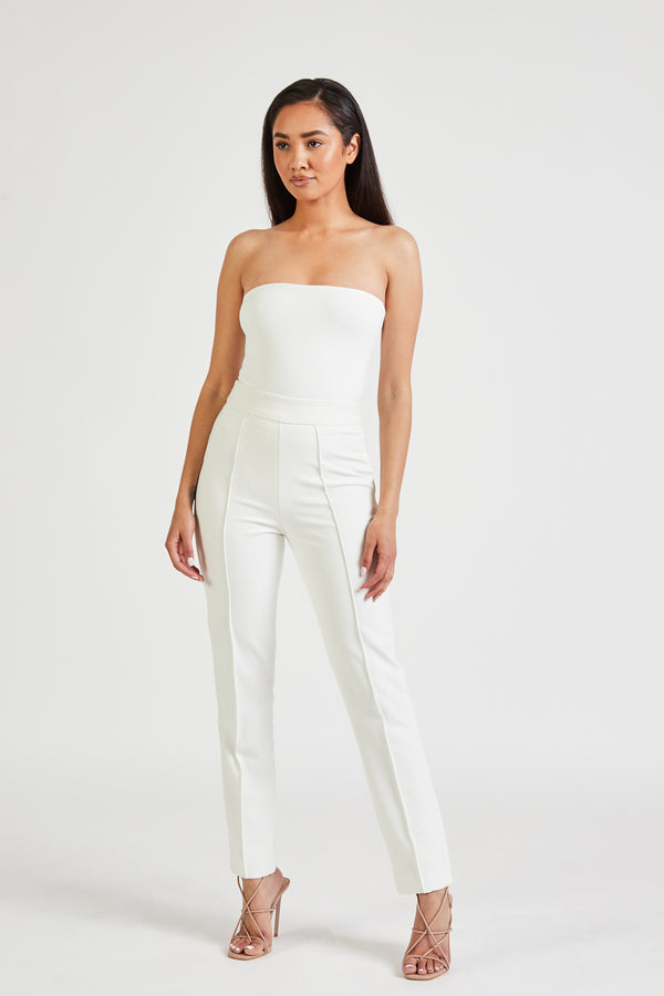 High Waisted Cigarette Trousers - Ivory