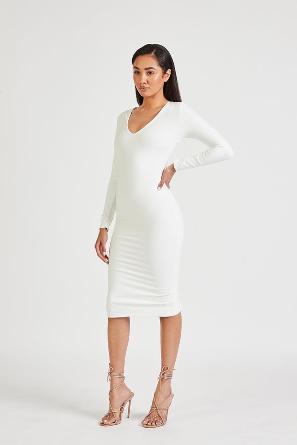Long Sleeve V Neck Midi Dress - Ivory