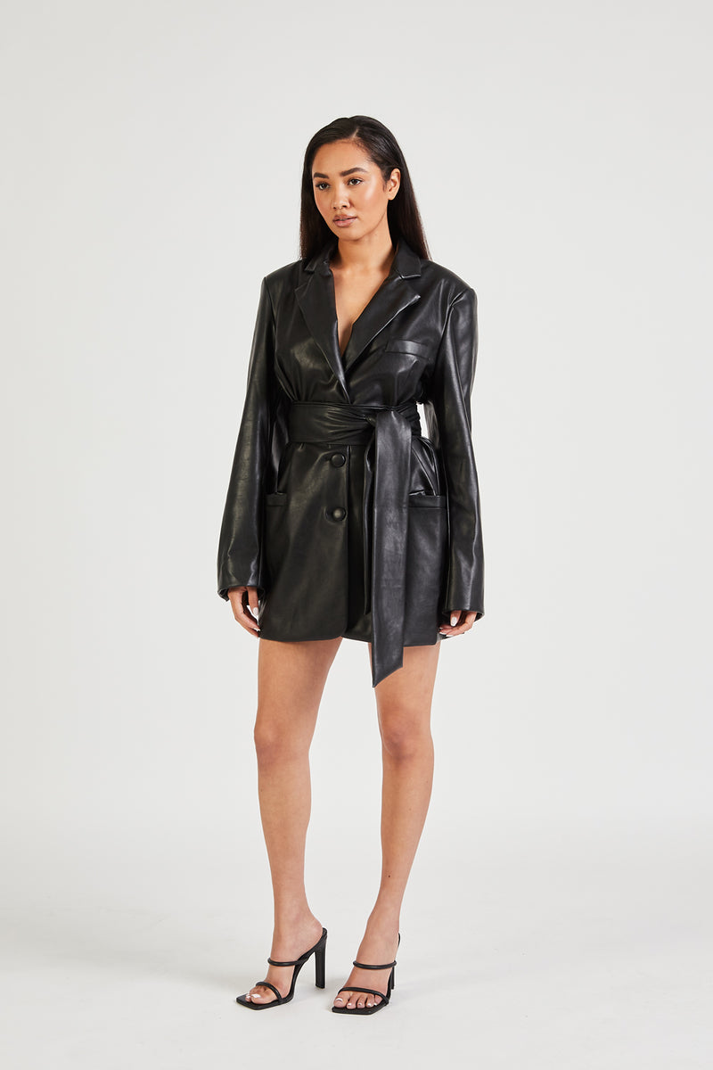 Leather Blazer Dress With Belt - Black