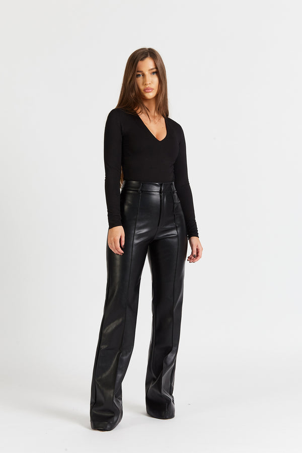 Leather Wide Leg Trousers - Black