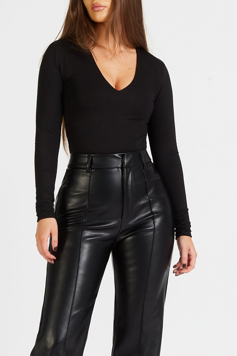 Wide Leg Leather Trousers - Black