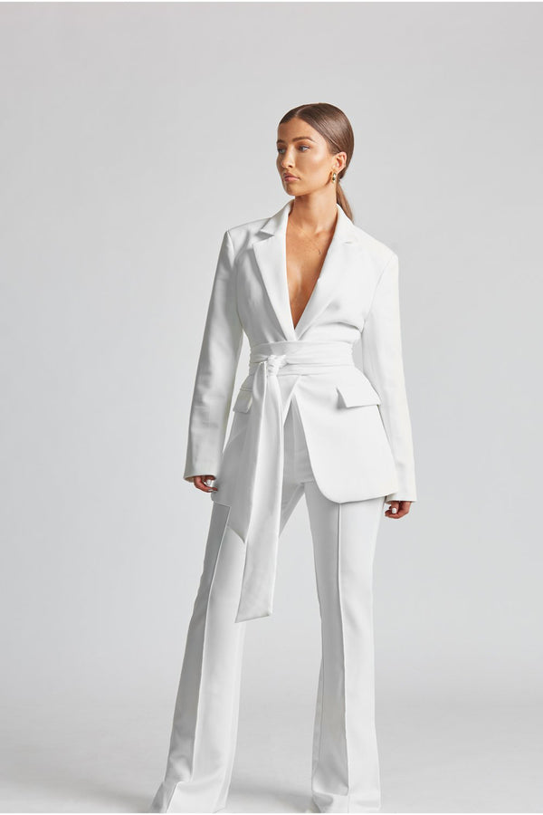 Classic Blazer With Belt - White