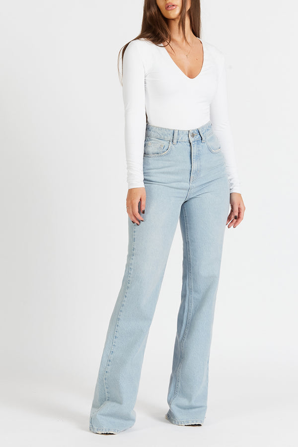Wide Leg Jeans - Light Blue