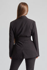 Classic Blazer With Belt - Black